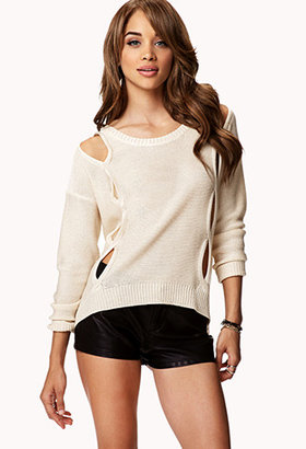 Forever 21 Cutout Chunky Knit Sweater