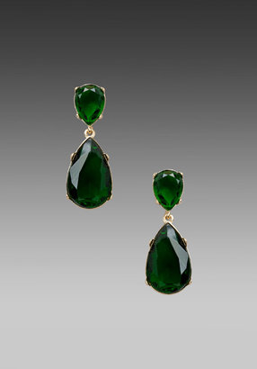 Kenneth Jay Lane Tear Drop Earrings in Gold/Emerald