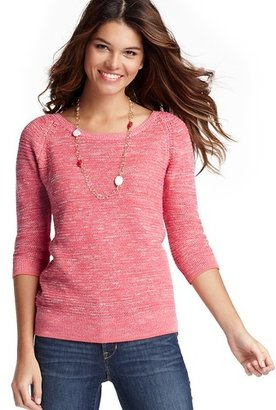 LOFT Marled 3/4 Sleeve Cotton Sweater