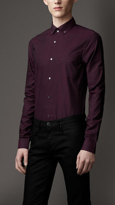 Burberry Slim Fit Herringbone Check Cotton Shirt