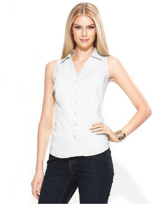 INC International Concepts Shirt, Sleeveless Button-Front