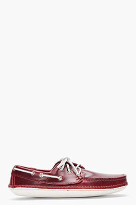 Quoddy burgundy hand-stitched boat Moccasins