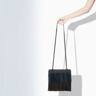 Zara Leather Messenger Bag With Fringing