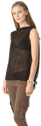 Alice + Olivia Air by Burnout Tee with Draped Back