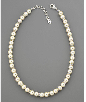 Carolee Pearl & Pave Crystal Rondell Necklace - Silvertone