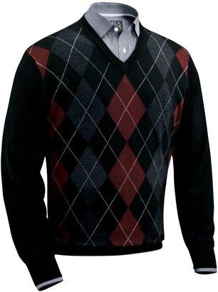 Jos. A. Bank Signature Merino Wool Sweater Argyle V-Neck