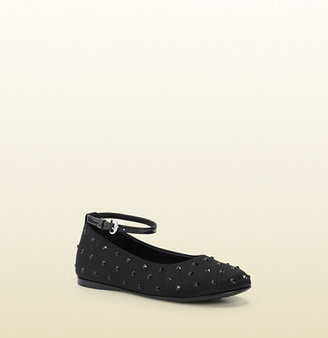 Gucci Kid's Black Satin Ballet Flat With Crystal Studs