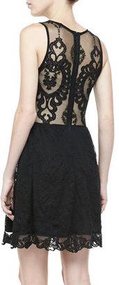 Lulu For Love & Lemons Mesh-Inset Lace Dress