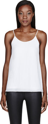 Alexander Wang White Silk Georgette & Jersey Layered Tank Top