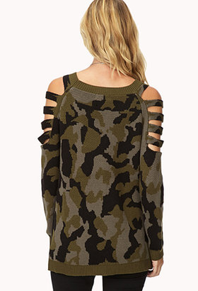 Forever 21 Cutting Edge Camo Sweater