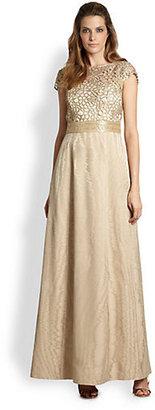 Kay Unger Lace-Top Moiré Gown