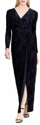 Lauren Ralph Lauren Burnout Velvet Tied Wrap Gown