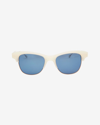 Intermix Oliver Peoples West Hobson Mirrored Lense Acetate Rim Sunglasses: White