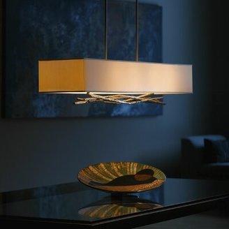 Hubbardton Forge Brindille 4 - Light Kitchen Island Square/Rectangle Pendant Finish: Translucent Mahogany, Shade Color: Doeskin Micro-Suede, Stem Leng