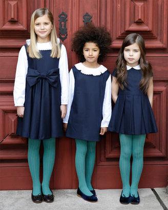 Oscar de la Renta Girls' Cap-Sleeve Party Dress, Navy
