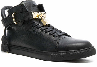Buscemi 100MM High Top Pebbled Leather Sneakers in Black | FWRD
