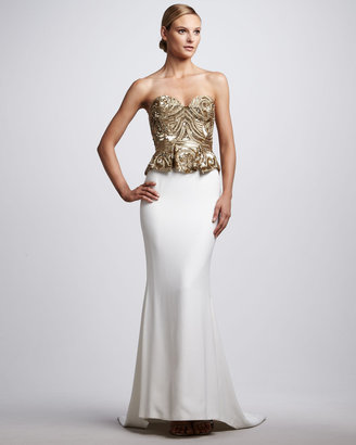 Marchesa Beaded Corset-Top Gown