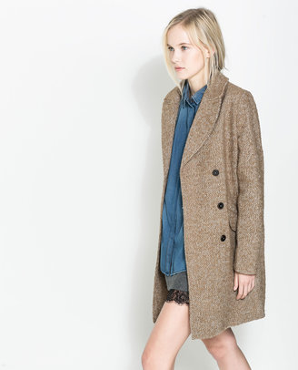 Zara Masculine Coat With Checked Lining