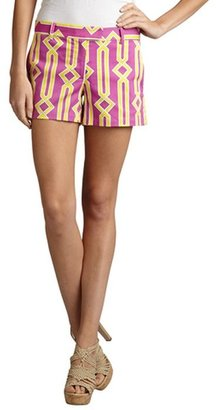 Julie Brown JB by pink and yellow stretch cotton 'Fences' printed shorts
