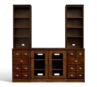 Pottery Barn Printer's Entertainment Center with Towers & Cabinets, Tuscan Chestnut