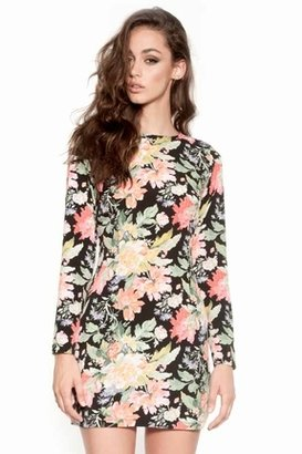 Nookie Full Bloom Long Sleeved Shift Dress in Floral $179 thestylecure.com