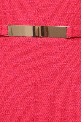 David Meister Cap Sleeve Knit with Belt Dress in Fuschia