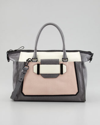 Milly Kelly Colorblock Leather Satchel Bag, Black