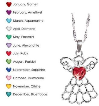 Avon Mary Birthstone Angel Necklace