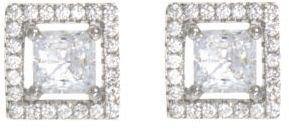 Crislu Square-Cut Cubic Zirconia & Platinum Stud Earrings