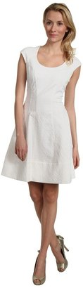 Vince Camuto Short Sleeve Fit Flare Dress (White) - Apparel