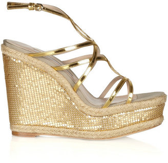 Brian Atwood Jourdan chain-mail-covered rope wedge sandals