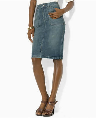 Lauren Ralph Lauren Skirt, Denim Pencil, Sedona Wash