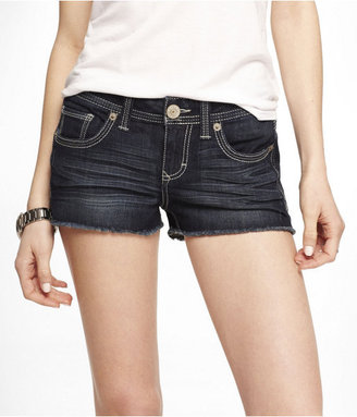 Express 2 Inch Thick Stitch Cutoff Denim Shorts