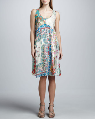 Johnny Was Collection Paisley Patchwork Silk Dress