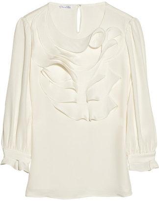 Oscar de la Renta Ruffled silk-crepe blouse