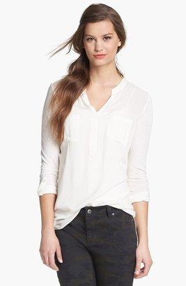 Vince Camuto Two by Split Neck Mixed Media Top
