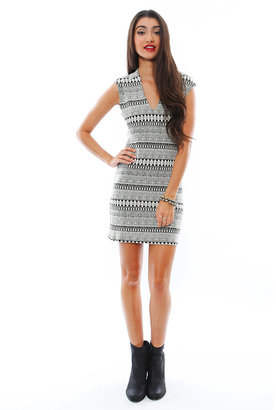 Rory Beca Spivey Low V Fitted Dress in Ticca White