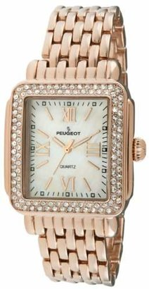 Peugeot Rectangle Crystal Bezel Roman Numeral Dial 14K Plated Bracelet Dress Watch 7080RG