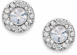 Charter Club Silver-Tone Clear Circle Stud Earrings