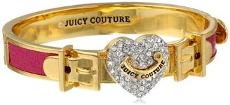 """Juicy Couture Pave Heart Cashmere Rose Leather Hinged Bangle Bracelet, 2.37"""""""