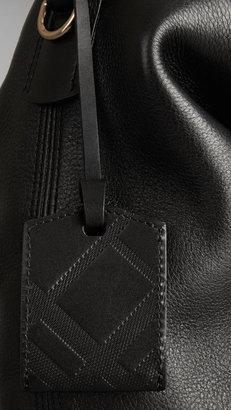 Burberry Medium Brit Check Leather Hobo Bag