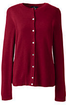 Lands' End Women's Petite Cashmere Cardigan Sweater-Rich Red
