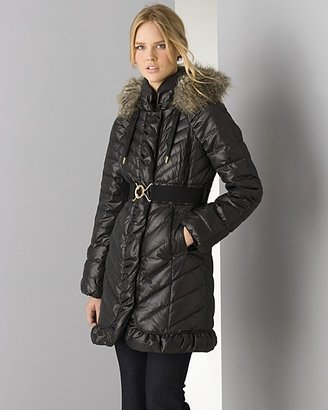 """Juicy Couture Women's """"Lady Puff"""" Coat With Faux Fur Trim Hood"""