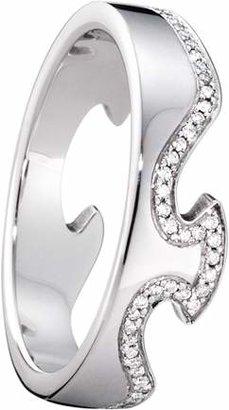 Georg Jensen 18ct White Gold Fusion End Diamond Set Ring - Ring Size M.5