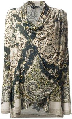 Etro pasiley print wrap blouse