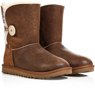UGG Leather Bailey Button Bomber Boots in Chestnut