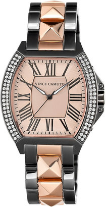 Vince Camuto Watch, Women's Rose Gold-Tone Pyramid Stud and Gunmetal-Tone Stainless Steel Bracelet 41x34mm VC-5123RGTT