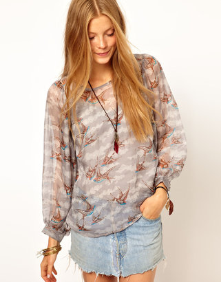 Traffic People Printed Silk Blouse With Open Back