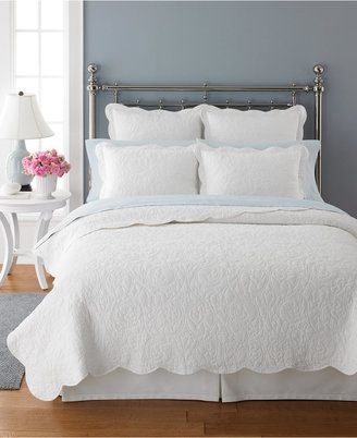 Martha Stewart CLOSEOUT! Collection Damask Trace White Full/Queen Quilt