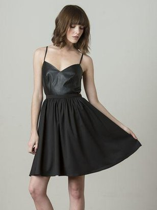 Blaque Label X-Back Leather Panel Dress In Black